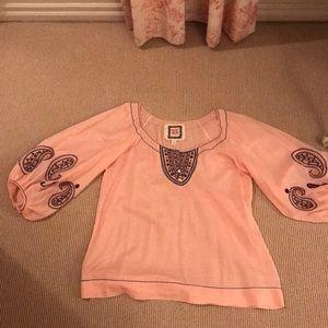 Sheer cotton tunic top